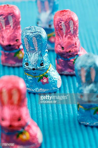Blue and pink chocolate Easter bunnies, close-up, selective focus
