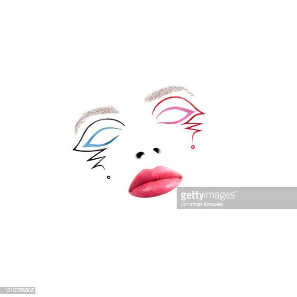 blue and pink makeup - pink lipstick stock pictures, royalty-free photos & images