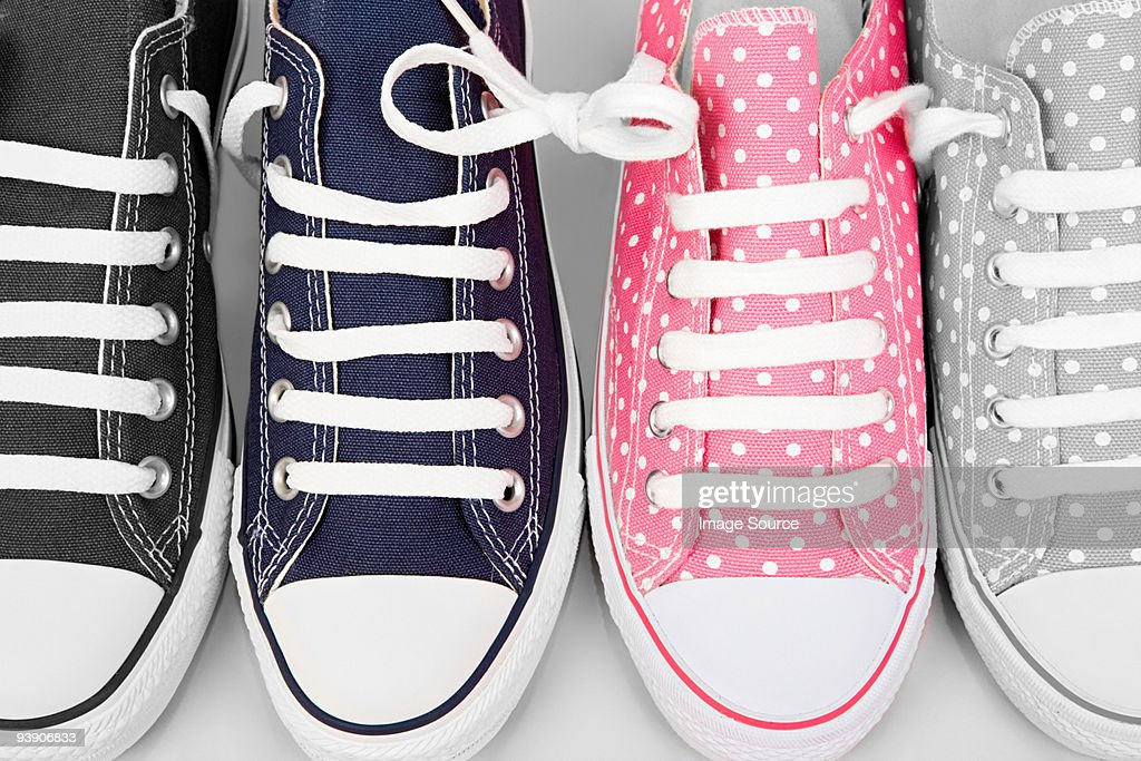 Blue and pink sneakers : Stock Photo