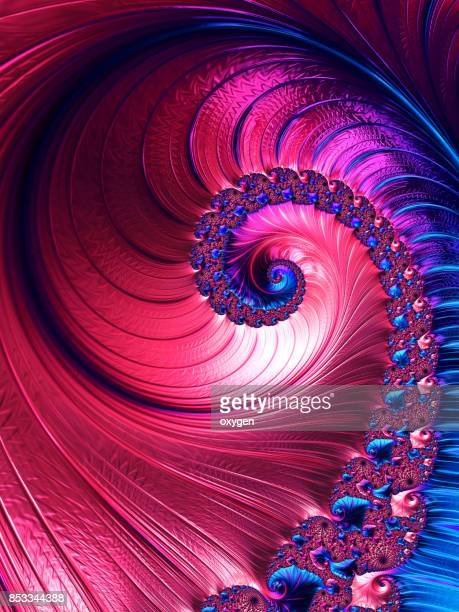 blue and pink spiral abstract fractal pattern - spiral stock pictures, royalty-free photos & images