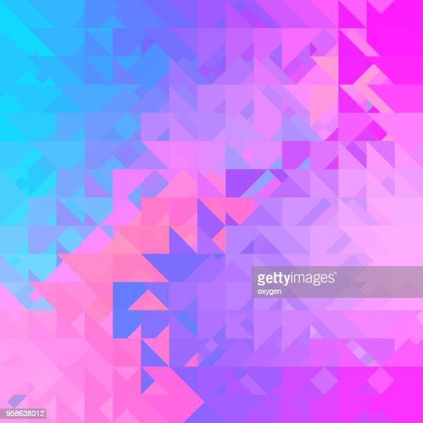 Blue and Pink triangular abstract background