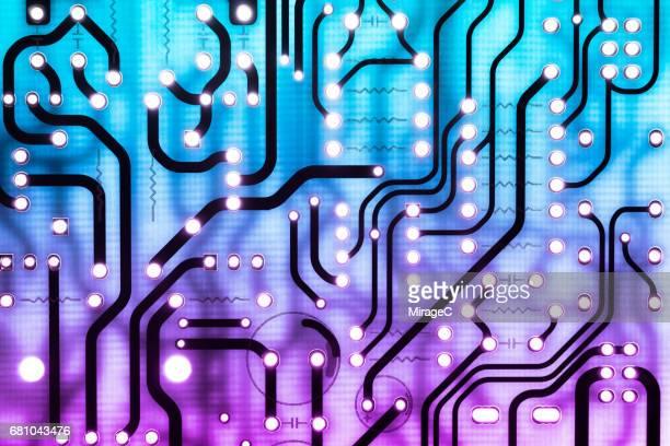 Blue and Purple Colored Circuit Board