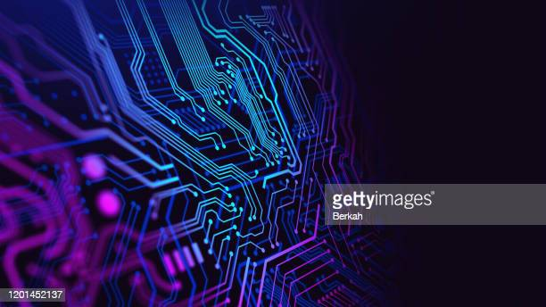 blue and purple technology background circuit board - techniek stockfoto's en -beelden