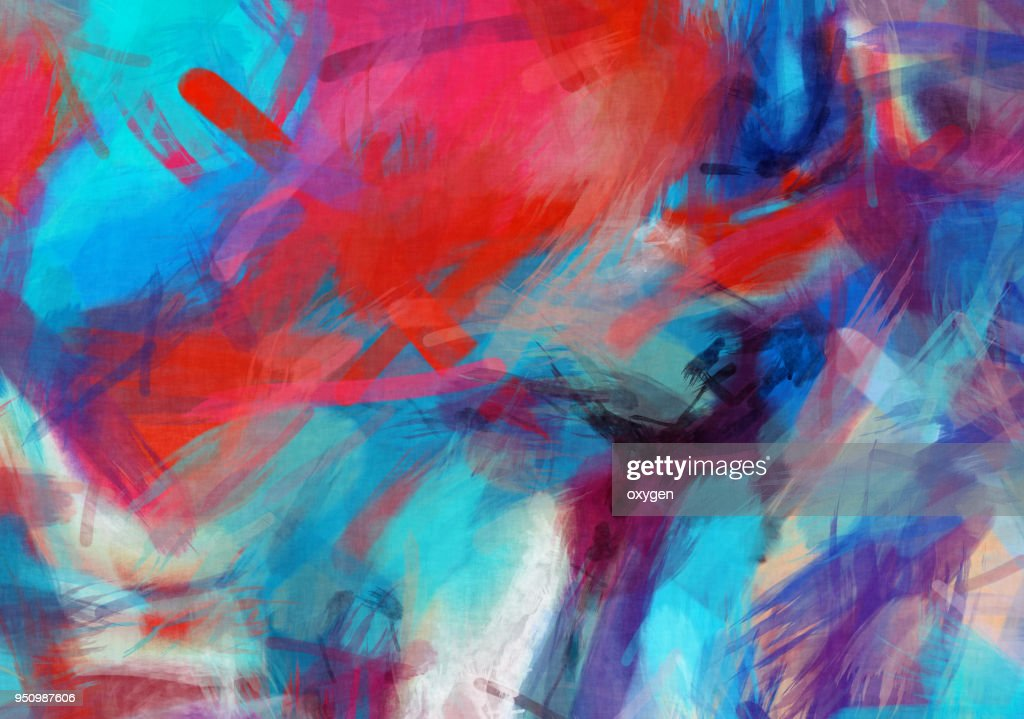 Blue and Red abstract painted watercolor illustration : Stock Photo