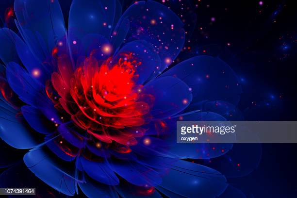 3d blue and red glowing flower fractal with particles - living organism stock pictures, royalty-free photos & images