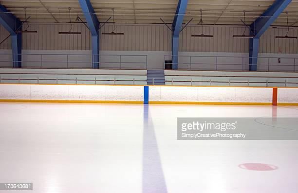A blue and red line on an ice rink