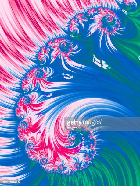 Blue and Red Spiral Abstract Fractal pattern