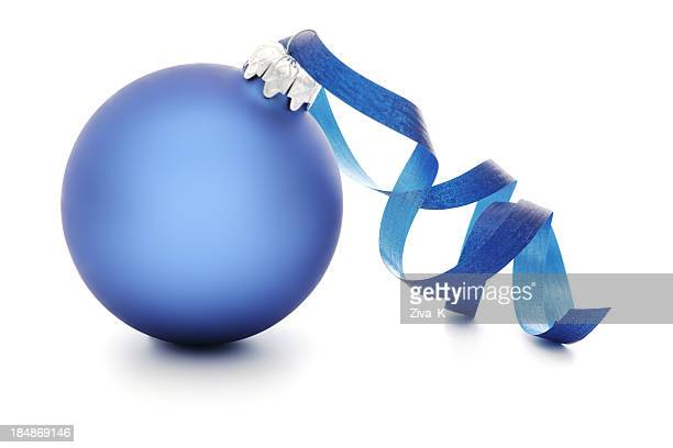 Blue and silver Christmas ornament with ribbon