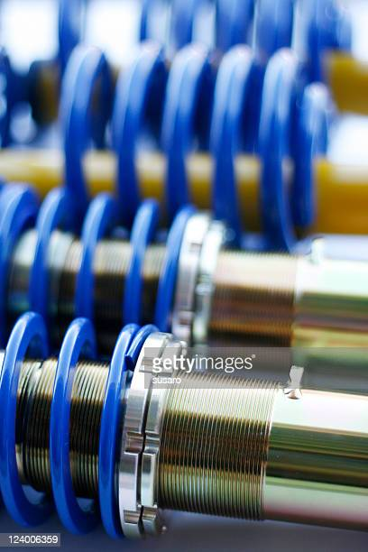 Blue and silver mechanical coil springs