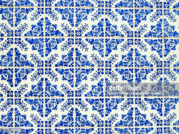 blue and white azulejos on the facade of a house in porto - cultura portoghese foto e immagini stock
