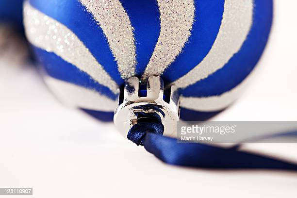 Blue and White Baubel. Christmas decoration shot in studio on white background.