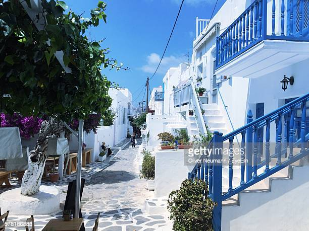 Blue And White Buildings By Narrow Footpath At Mykonos