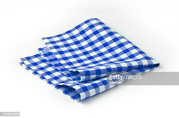 Blue and white chequered tea towel