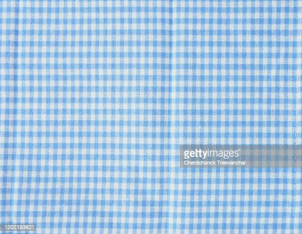 blue and white colours of gingham texture on the background - ギンガムチェック ストックフォトと画像