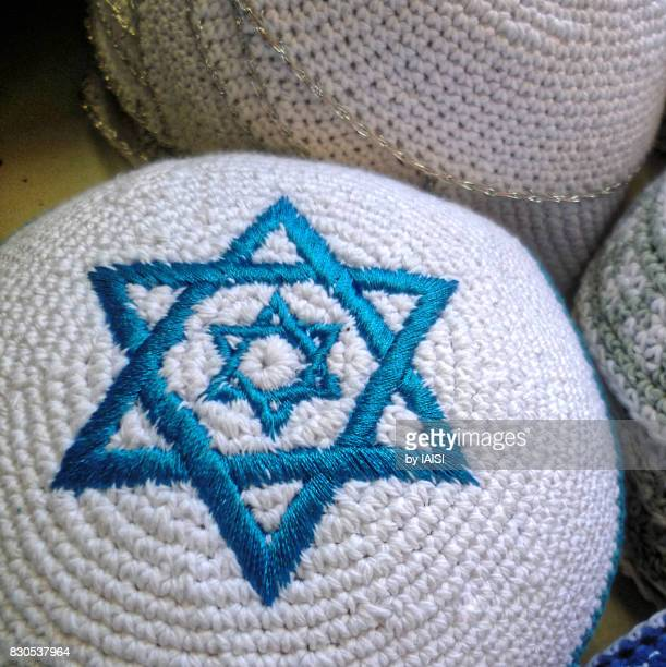 Blue and white kipa with two stars of David