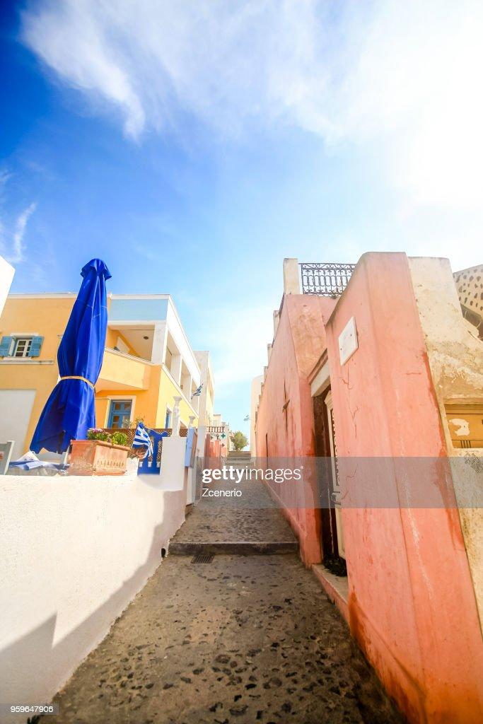 A blue and white Oia village on Santorini island, Mediterranean, Greece : Stock-Foto