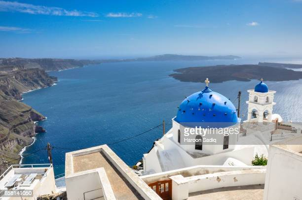 Blue and white painted church (Santorini, Greece)