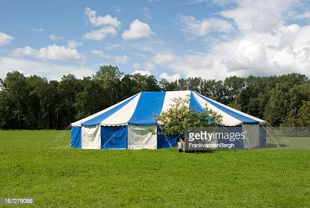 Blue and white party tent