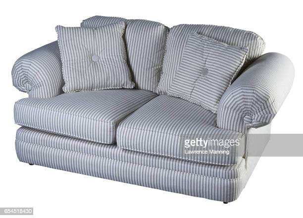 Blue and White Striped Loveseat