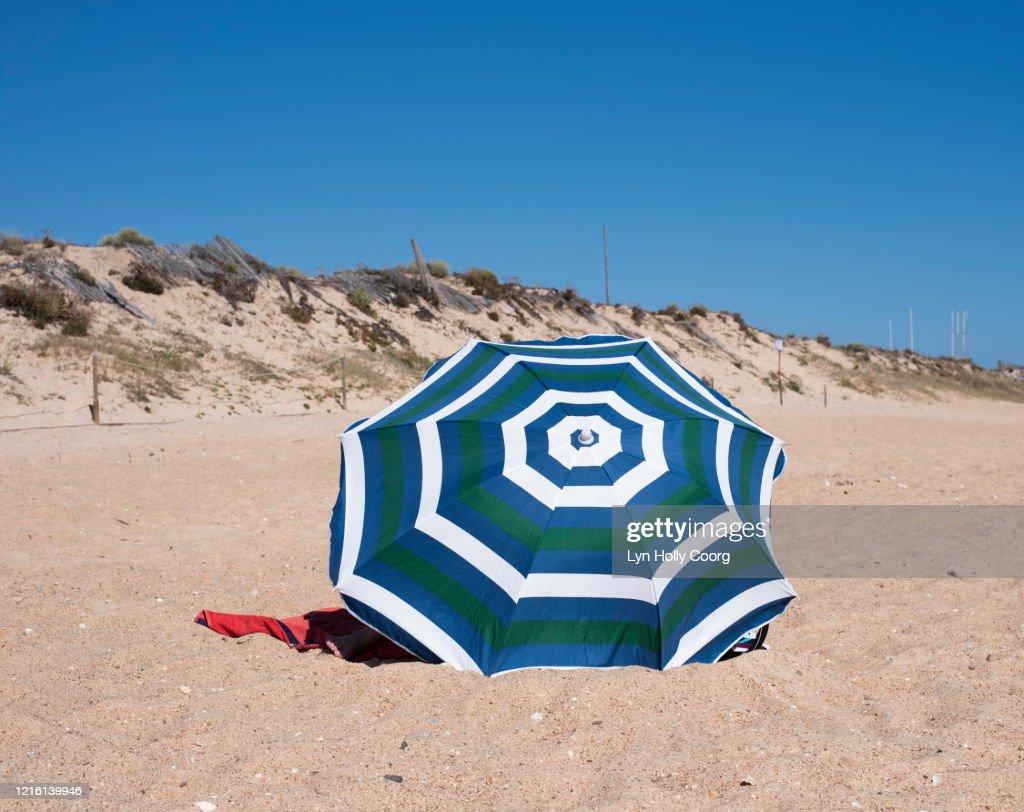 Blue and white striped umbrella on sandy beach : Stock Photo