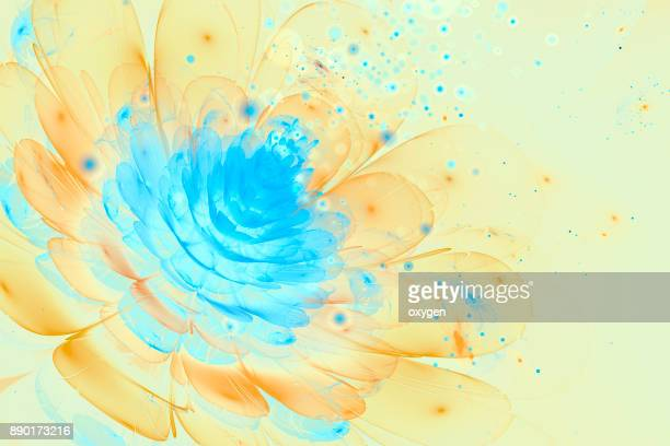 3D Blue and Yellow glowing flower fractal with particles