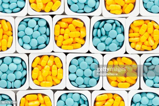 Blue and yellow pills
