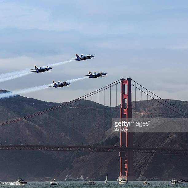 Blue Angels Airplanes Passing Golden Gate Bridge