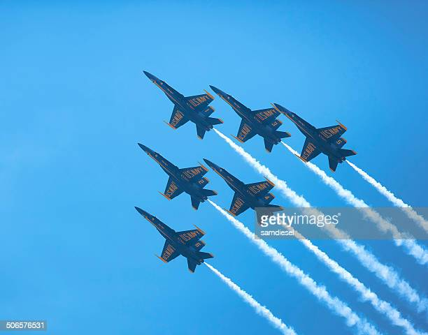 blue angels delta formation - blue angels stock pictures, royalty-free photos & images