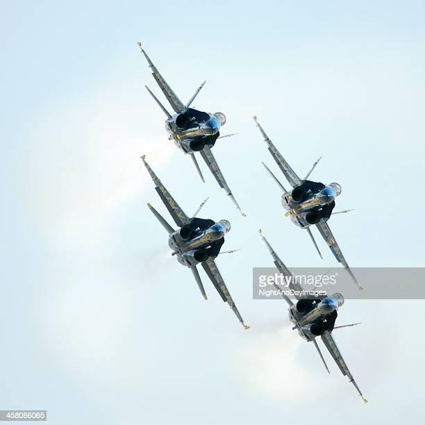 blue angels diamond formation - blue angels stock pictures, royalty-free photos & images