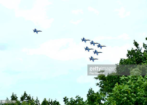 blue angels fly over boston - blue angels stock pictures, royalty-free photos & images