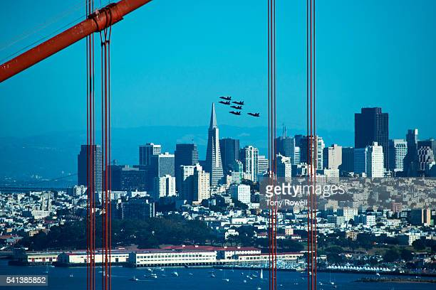 blue angels fly over san francisco during the u.s navy's fleet week - blue angels stock pictures, royalty-free photos & images