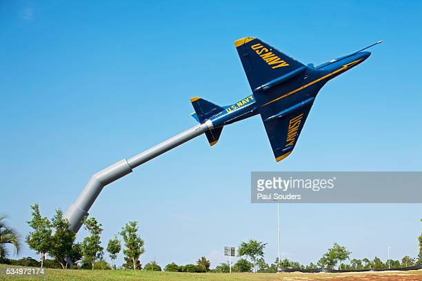 blue angels jet display, pensacola, florida - blue angels stock pictures, royalty-free photos & images