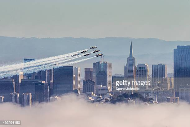 Blue Angels over San Francisco Downtown, USA