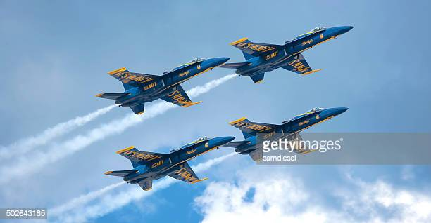 blue angels vapor trails - blue angels stock pictures, royalty-free photos & images