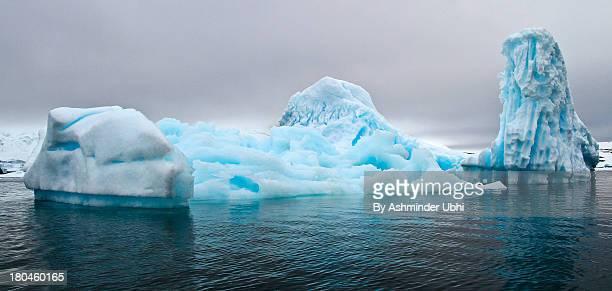 Blue Antarctica icebergs