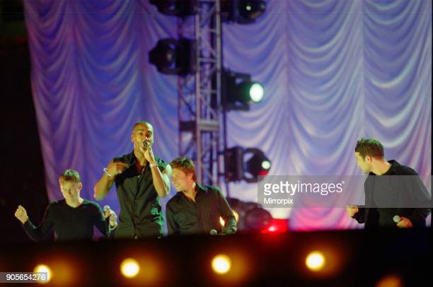 Blue appearing at Showtime at The Millennium Stadium Cardiff Wales United Kingdom Left to right Lee Ryan Simon Webbe Duncan James Antony Costa...