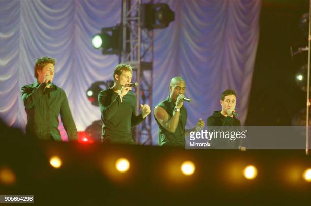 Blue appearing at Showtime at The Millennium Stadium Cardiff Wales United Kingdom Left to right Duncan James Lee Ryan Simon Webbe Antony Costa...