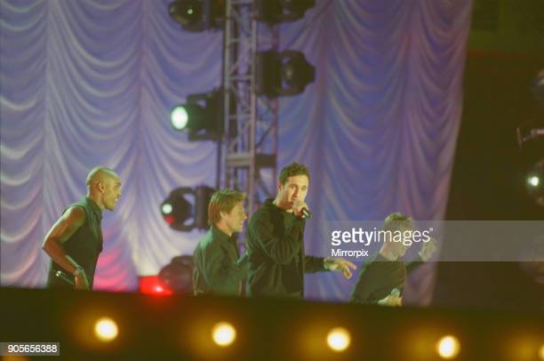 Blue appearing at Showtime at The Millennium Stadium Cardiff Wales United Kingdom Left to right Simon Webbe Duncan James Antony Costa Lee Ryan...