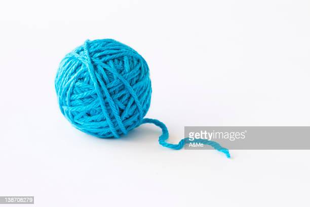 blue ball of wool, studio shot - wool stock pictures, royalty-free photos & images