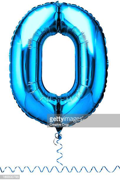 Blue balloon in the shape of a number zero