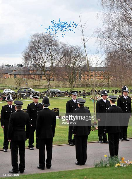 Blue balloons are released after the funeral of Pc David Rathband at Stafford Crematorium on March 17 2012 in Stafford England PC Rathband who was...