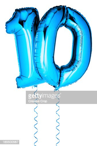 Blue Balloons In The Shape Of A Number 10 Stock Photo
