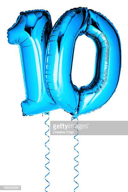 Blue balloons in the shape of a number 10