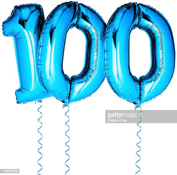 Blue balloons in the shape of a number 100