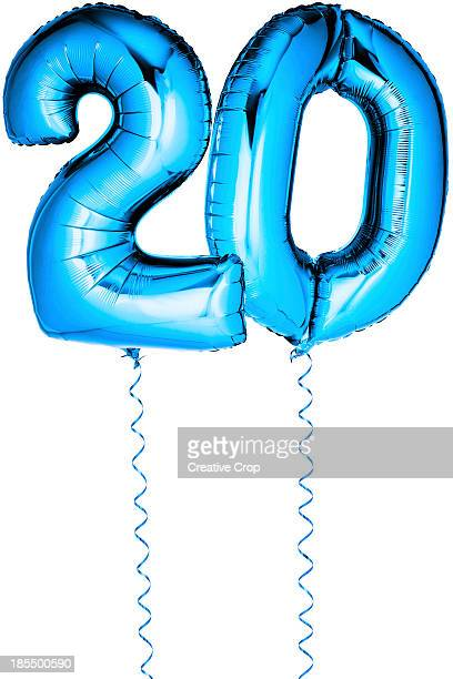 blue balloons in the shape of a number 20 - number 20 stock pictures, royalty-free photos & images