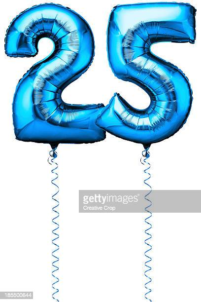Blue balloons in the shape of a number 25