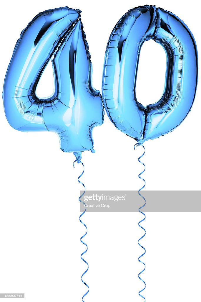 Blue balloons in the shape of a number 40 : Stock Photo