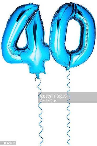 blue balloons in the shape of a number 40 - number 40 stock photos and pictures