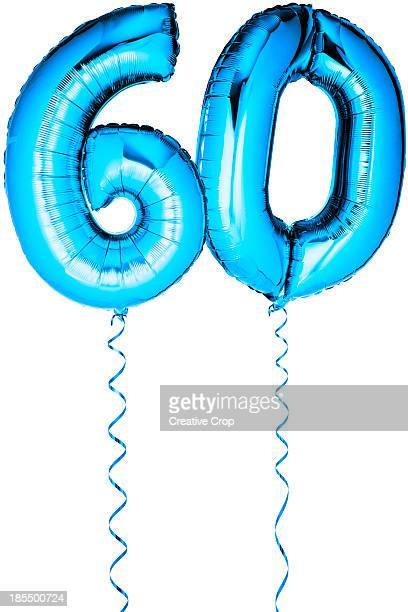 blue balloons in the shape of a number 60 - number 60 stock photos and pictures