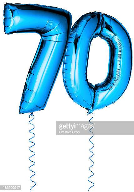 Blue balloons in the shape of a number 70